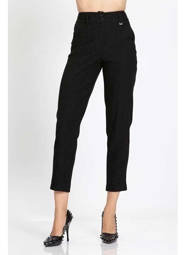 Vitrin Örme Sim Detaylı Dar Paça Pantolon Siyah